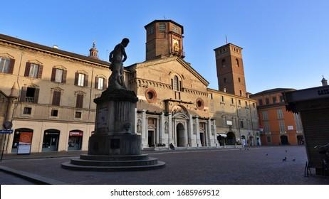 Reggio Emilia, Emilia Romagna, Italy - 03.28.2020: Prampolini square and the Cathedral of Reggio Emilia