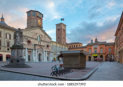 Reggio Emilia  - The square Piazza del Duomo at dusk.