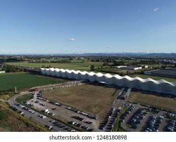 Reggio Emilia/Italy- 07/20/2018: Aerial view of AV Mediopadana high speed railway station by Santiago Calatrava in Reggio Emilia