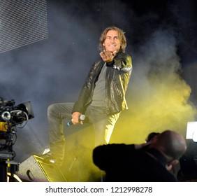 Reggio Emilia/Italy - 09/22/2012: The Italian singer Luciano Ligabue, a singer, actor, director, songwriter, composer, musician and Italian record producer at the concert Campovolo in Reggio Emilia