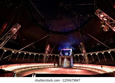 Reggio Emilia/Italy - 10/14/2018: Empty interior of the Darix Togni circus