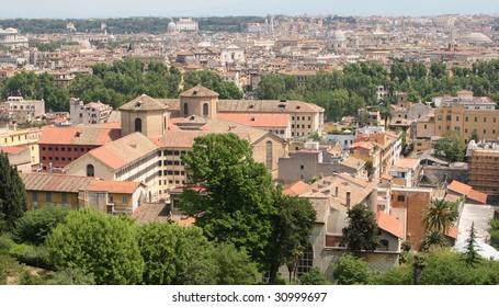 Regina Coeli prison in Rome, Italy. View from Gianicolo hill.