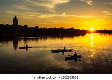 REGINA, SK - June 3, 2018 Kayakers enjoy a summer evening at Wascana Park