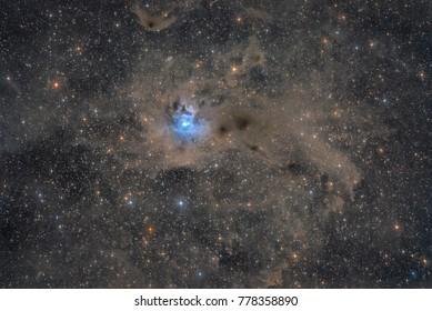 The region around the Iris Nebula, a bright reflection nebula, in the constellation Cepheus (NGC 7023)