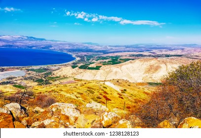Region: Golan Heights,  Galilee, Jordan Rift Valley. Sea of Galilee (Hebrew: Kinneret or Kineret) in Israel. Beautiful landscape with lake (sea), forest and mountains. North of israel