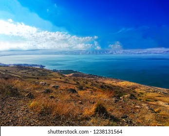 Region in Israel: Jordan Rift Valley, Golan Heights,  Galilee. Sea of Galilee (Hebrew: Kinneret or Kineret). Beautiful landscape with lake (sea), forest and mountains. North of israel
