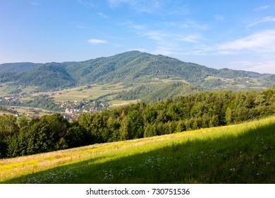 Region on Podhale, in Polish mountains. Horizontal landscape crop in sunny day