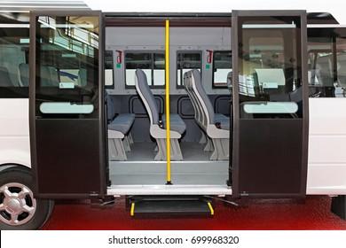 Regional mini bus with open double doors