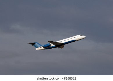 Regional passenger airplane minutes after takeoff