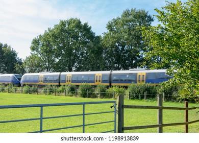 Regional train in passing. Location: Germany, North Rhine-Westphalia, Marbeck