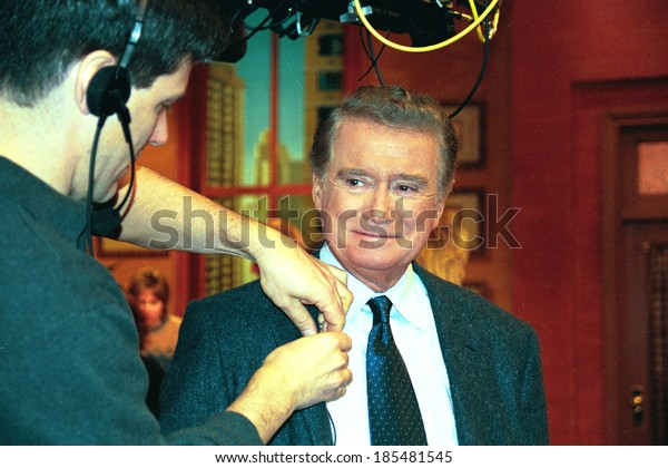 Regis Philbin getting ready for LIVE WITH REGIS AND KELLY, NY 2/6/2001