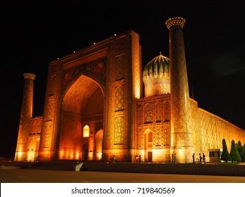 Registan in Samarkand at night, Uzbekistan.
