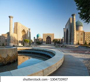 Registan square in the city of Samarkand at sunrise, Uzbekistan