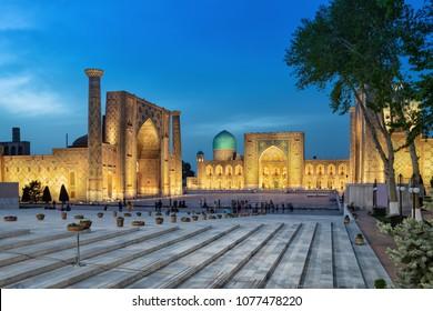 Registan square at dusk - the ancient center of Samarkand, Uzbekistan