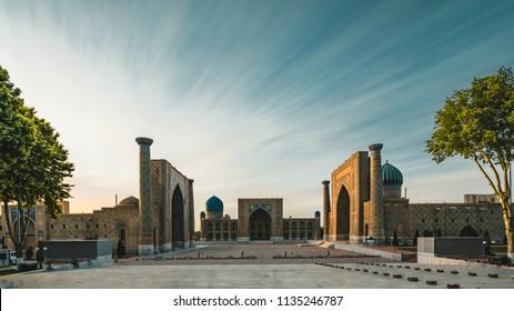 Registan Square Samarkand Uzbekistan long term exposure twilight sunset