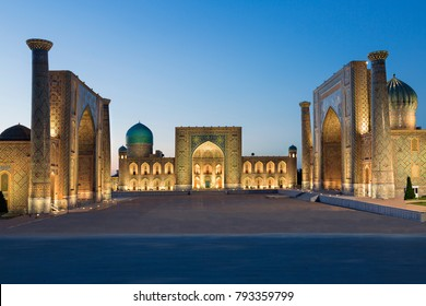 Registan Square at the twilight, Samarkand, Uzbekistan.