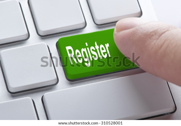 Register green button on keyboard, business concept