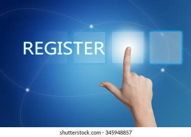 Register - hand pressing button on interface with blue background.