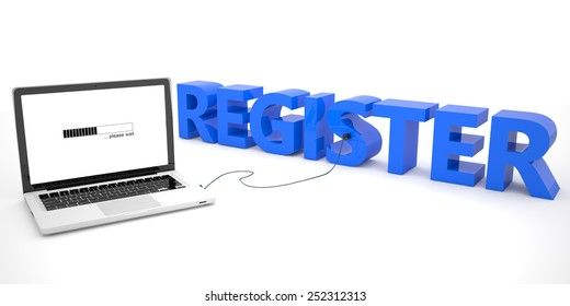 Register - laptop computer connected to a word on white background. 3d render illustration.