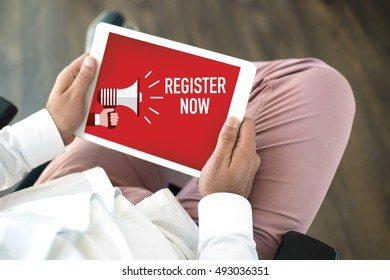 REGISTER NOW ANNOUNCEMENT CONCEPT ON SCREEN