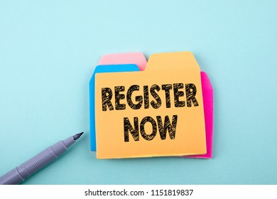 Register Now. Business, technology Concept. Paper note with text