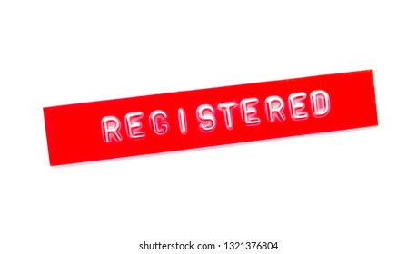 registered embossed word on plastic tape