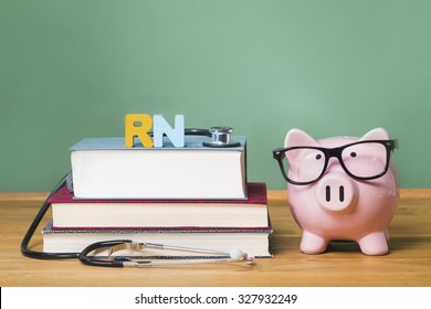 Registered Nurse RN theme with pink piggy bank with chalkboard in the background as concept image of the costs of education