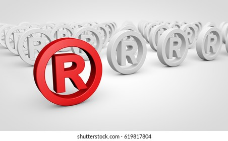 Registered trademark business concept with red icon and many others mark symbol on background 3D illustration.