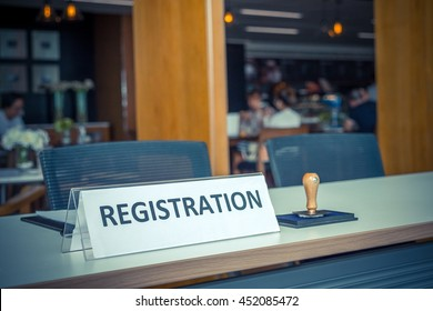 registration desk in conference center