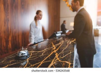 Registration desk in modern hotel