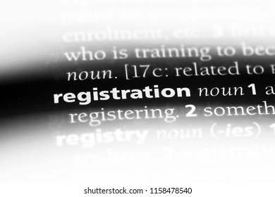 registration word in a dictionary. registration concept.
