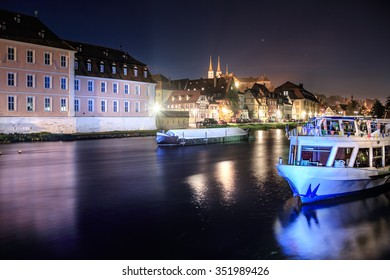 Regnitz river view of Bamberg Town by night, Bavaria, Germany