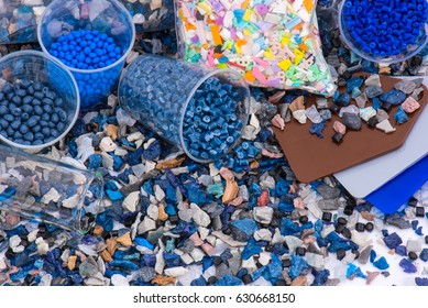regrind of milled plastic goods with color samples and virgin material for recycling industry and plastic bag