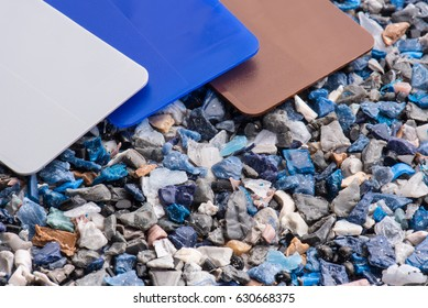 regrind of milled plastic goods with color samples for recycling industry