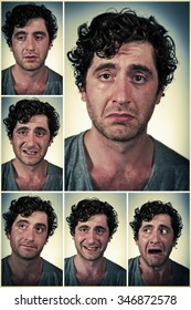 Regular average looking man making various facial expressions in collage imagery