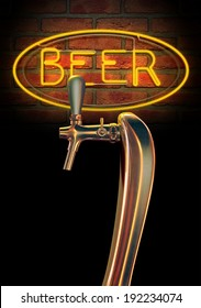 A regular chrome draught beer tap on a facebrick wall background with a neon beer sign illuminated in the background