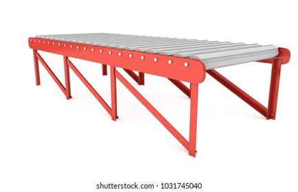 Regular empty roller conveyor section. 3d render isolated on white