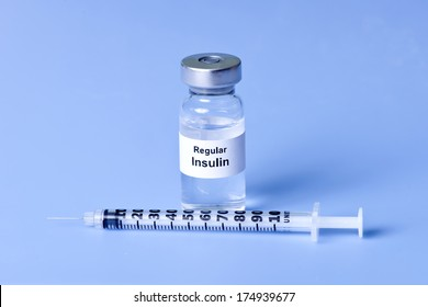 Regular insulin with syringe on light blue background.  Label is not real.