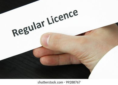 Regular licence sign with hand