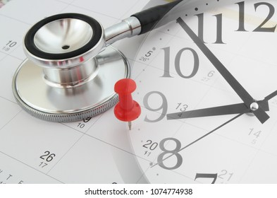 Regular medical examination concept, black stethoscope and push pin on calendar, collage with clock