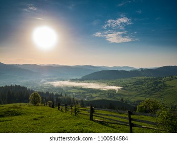 Regular morning on a village from the mountain area of Bucovina, a northern region from ROMANIA.