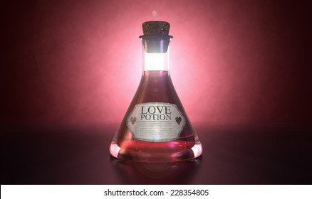 A regular old goblet glass bottle filled with a pink liquid with a label showing it is love potion and sealed with a cork on a spotlit pink background