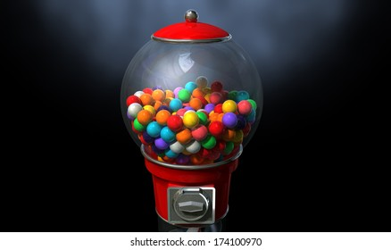A regular red vintage gumball dispenser machine made of glass and reflective plastic with chrome trim filled with multicolored gumballs on a dark moody  background