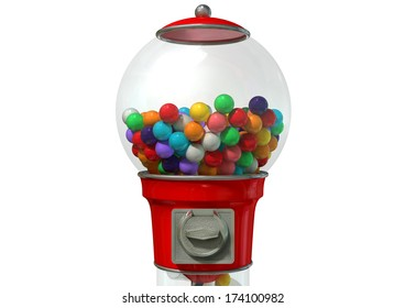 A regular red vintage gumball dispenser machine made of glass and reflective plastic with chrome trim filled with multicolored gumballs on an isolated white background