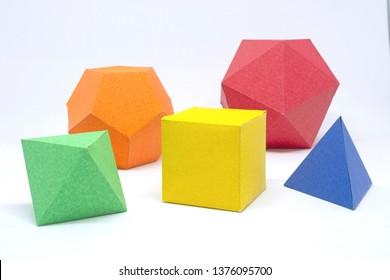 Regular solids: tetrahedron, hexahedron, octahedron, dodecahedron and icosahedron