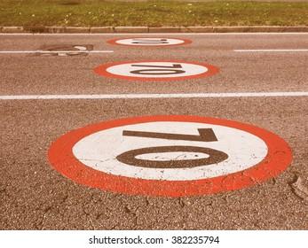Regulatory signs, Maximum speed limit traffic sign vintage