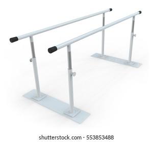 Rehabilitation parallel bars isolated on white. 3D rendering