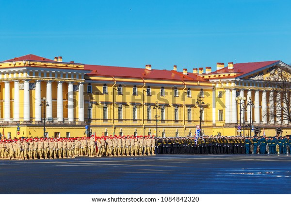 rehearsal of the military parade to victory day. 2018, may 6, St. Petersburg