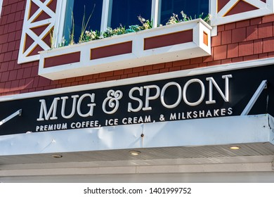 Rehoboth Beach, DE, USA - May 18, 2019: The Mug & Spoon, a casual coffee shop on the main street of the resort beach community.