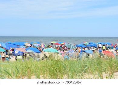 REHOBOTH BEACH, DELAWARE - JUL 1: Rehoboth Beach in Delaware, as seen on July 1, 2017. It is a popular regional vacation destination.
